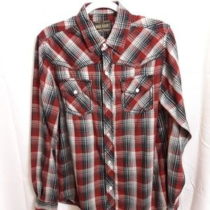 Red Snap Long Sleeve Button Up Shirt